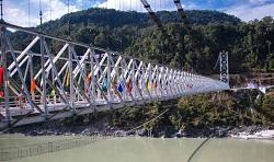 Country's longest single lane steel cable bridge