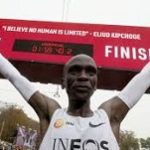 First athlete to run a marathon in less than two hours